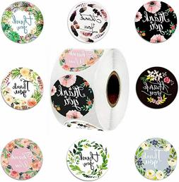 """1 Roll of 500pcs 1""""/1.5"""" Assorted Floral Thank You Stickers"""