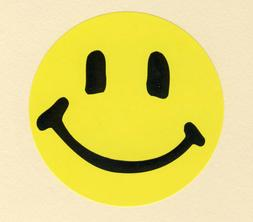 10 Yellow Happy Smile Face - Large Stickers - Party Favors -