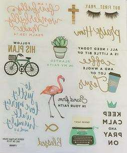 2 Sheets Religious Inspirational Words Faith Bible Stickers