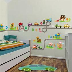 30*90cm Cartoon Car Track Wall Stickers PVC Decals FOR Kids