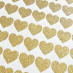 Amaonm 72 Pcs Removable Sparkling Gold Heart Wall Decals Sti