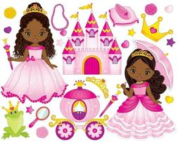 African American Princess w/ accessories stickers for planne