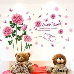 Amaonm Creative Romantic Removable Flowers Rose Wall Sticker
