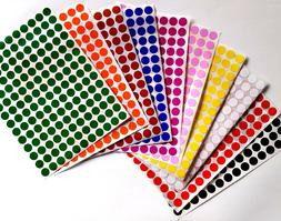 Color Coded Stickers 3/8 Labels Round Small Dots 0.375 Inch