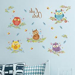 Amaonm Cute Owls Wall Decals 5 Owls on The Tree Branch Wall