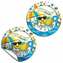 Emoji Pool Party Thank You Sticker Labels for Boys, 40 2' Pa