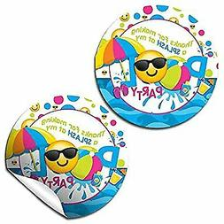 Emoji Pool Party Thank You Sticker Labels for Girls, 40 2' P