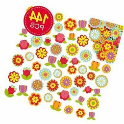 Baker Ross Flower Foam Stickers, Self-Adhesive - for Kids to