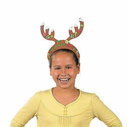 Foam Reindeer Antlers With Stickers - Craft Kits - 12 Pieces