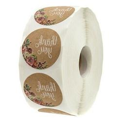 Kraft Floral Thank You Stickers - 1 inch Circle Labels / 500