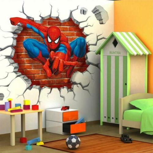 3D Spiderman Superhero Wall Art Stickers Mural Decal For Kid