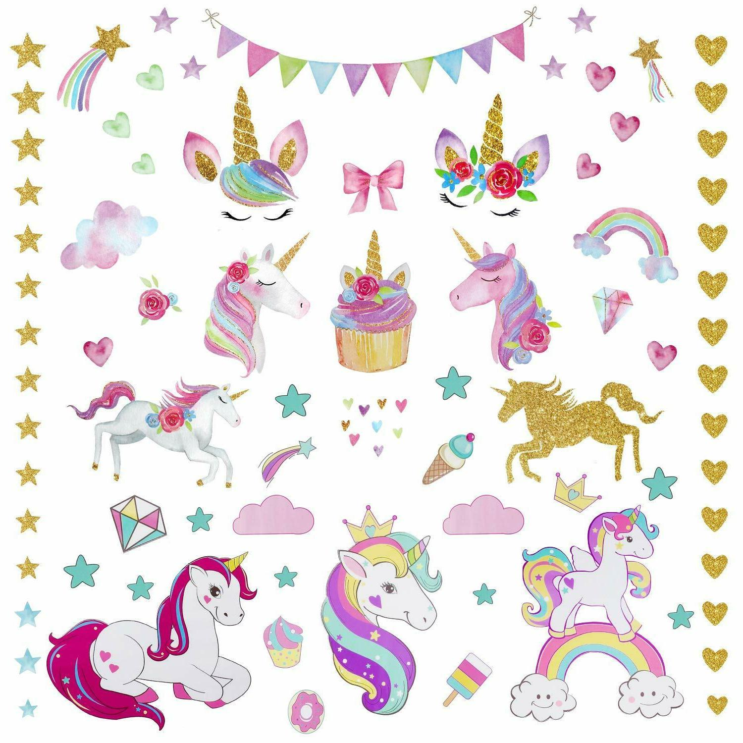3Sheets 2Styles 87pcs Unicorn Wall Stickers for Room