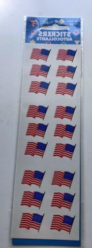 Amscan American Flag Stickers New 1 Sheet 18 Stickers USA