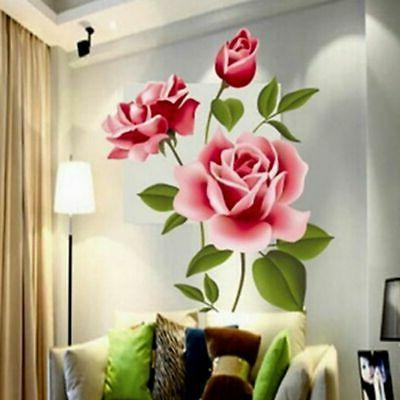 Wall Stickers Rose Flower Home Decor Wall Art Decals for Bat