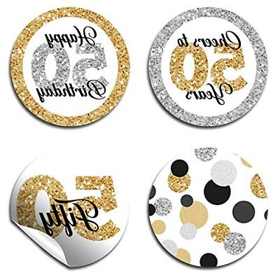 Confetti Polka 50th Birthday Kiss Labels, 300 Party Circle for