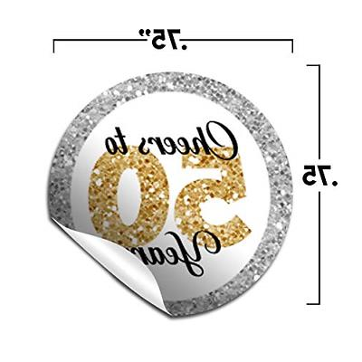 Confetti 50th Birthday Party Labels, 300 for