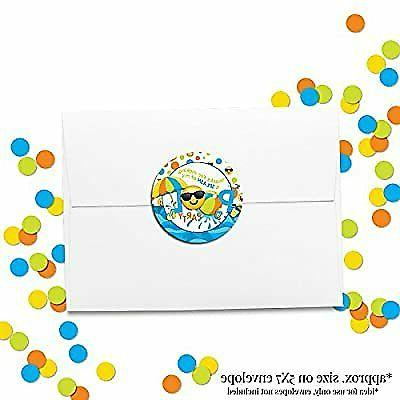 Emoji Pool Thank You Labels for Boys, 40 2' Circle Stickers