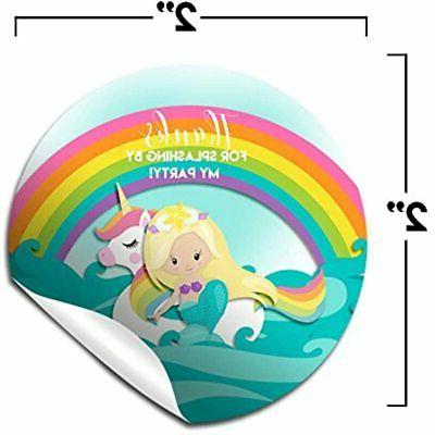 Mermaid Unicorn Pool Party Labels, Circle By