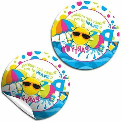 pool birthday party thank you sticker labels