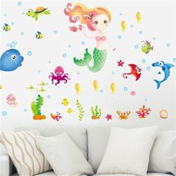 Lovely Mermaid and fishes Wall Stickers For Girls Bedroom Wi