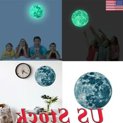 Luminous Moon 3D Removable Wall Stickers For Kids Room Bedro