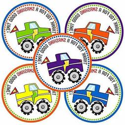 Monster Truck Thank You Sticker Labels - Kids Birthday Party