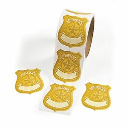 Police Badge Name Tag Stickers Roll of 100 School Party Supp