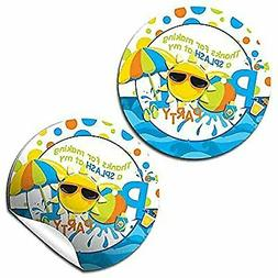 Pool Birthday Party Thank You Sticker Labels for Boys, 40 2'