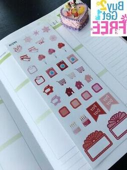 PP218 -- Red Seasonal Icon Life Planner Stickers for Erin Co