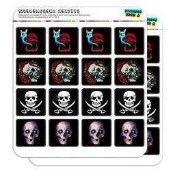 Skulls Pirate Rock and Roll Roses Planner Scrapbook Square S
