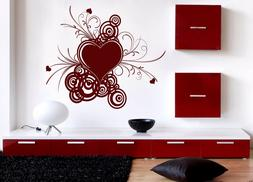 Vinyl Decal Wall Sticker abstract valentine design with hear