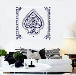 Vinyl Wall Sticker Aces of Spades with Flowers Pattern black